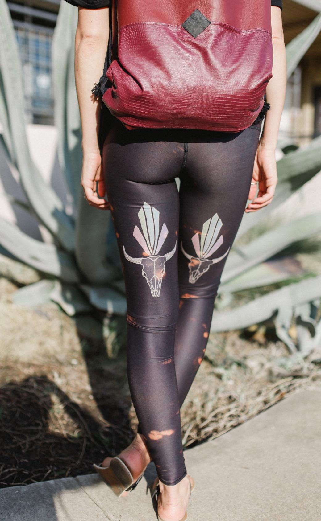 teeki yoga pants and herdentier vegan leather backpack