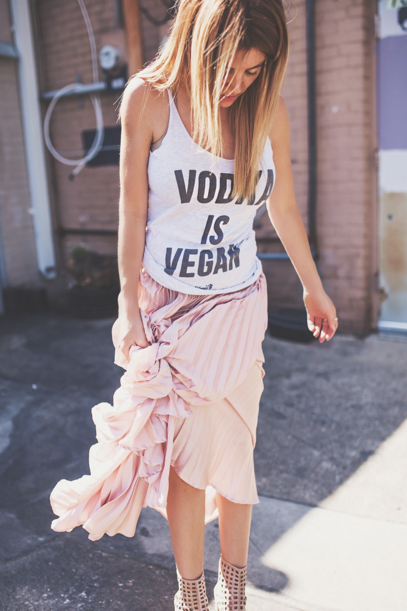vodka is vegan tank top by vegan bros, cage booties with pleated maxi from sheen