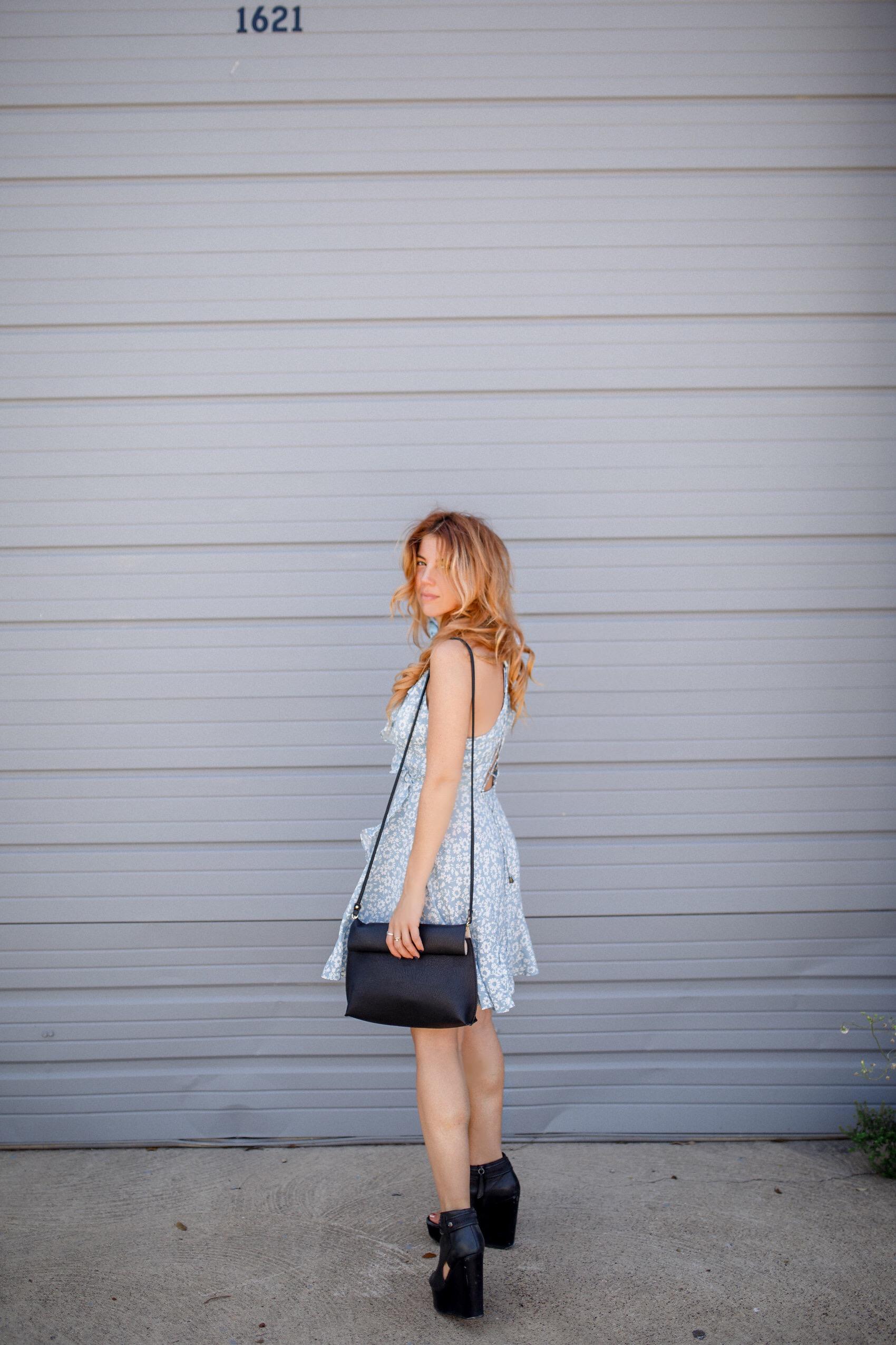 urban outfitters vegan leather crossbody bag, dress on sale, fashionveggie vegan fashion blogger