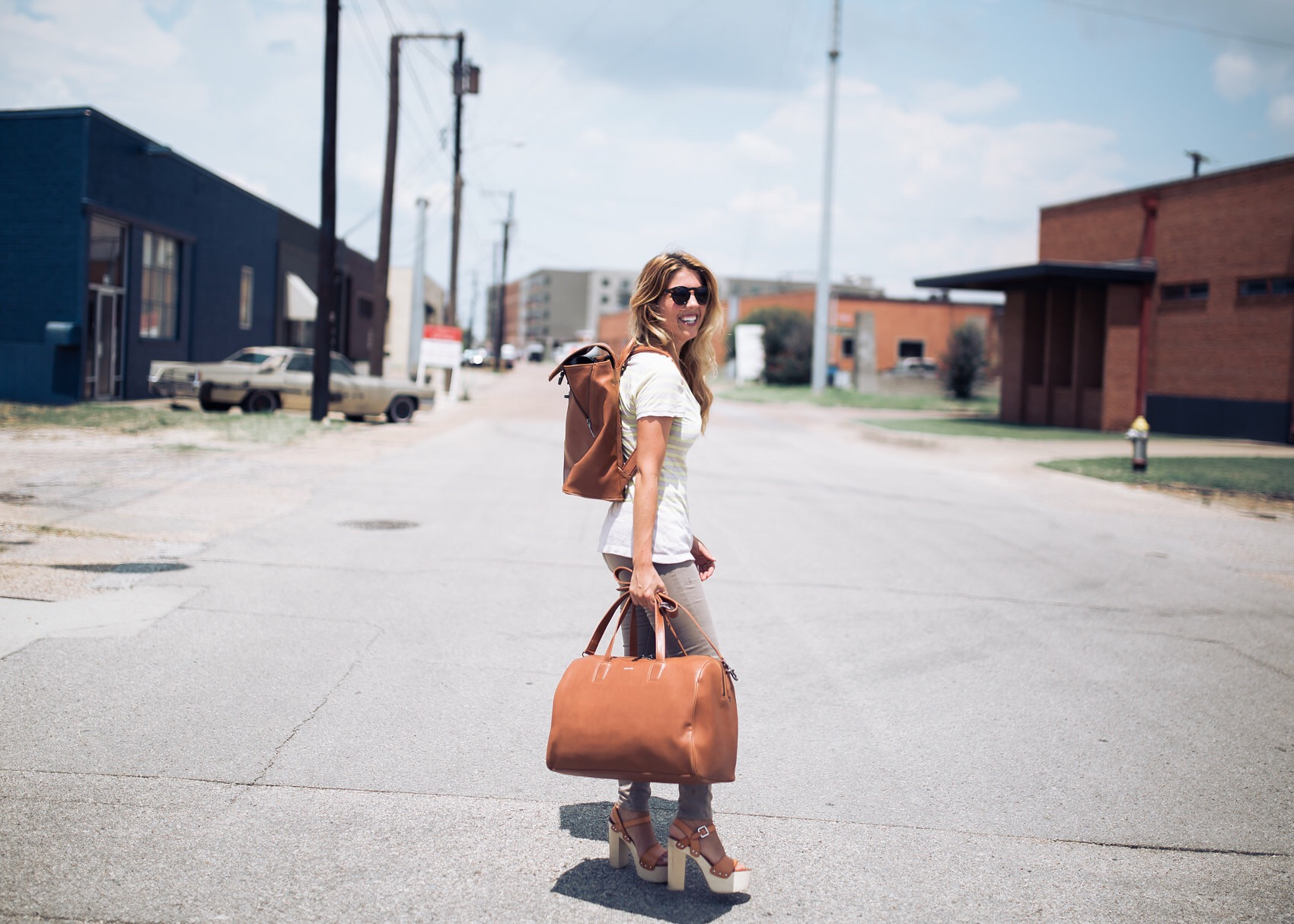 vegan blogger fashionveggie with matt & nat vegan leather luggage