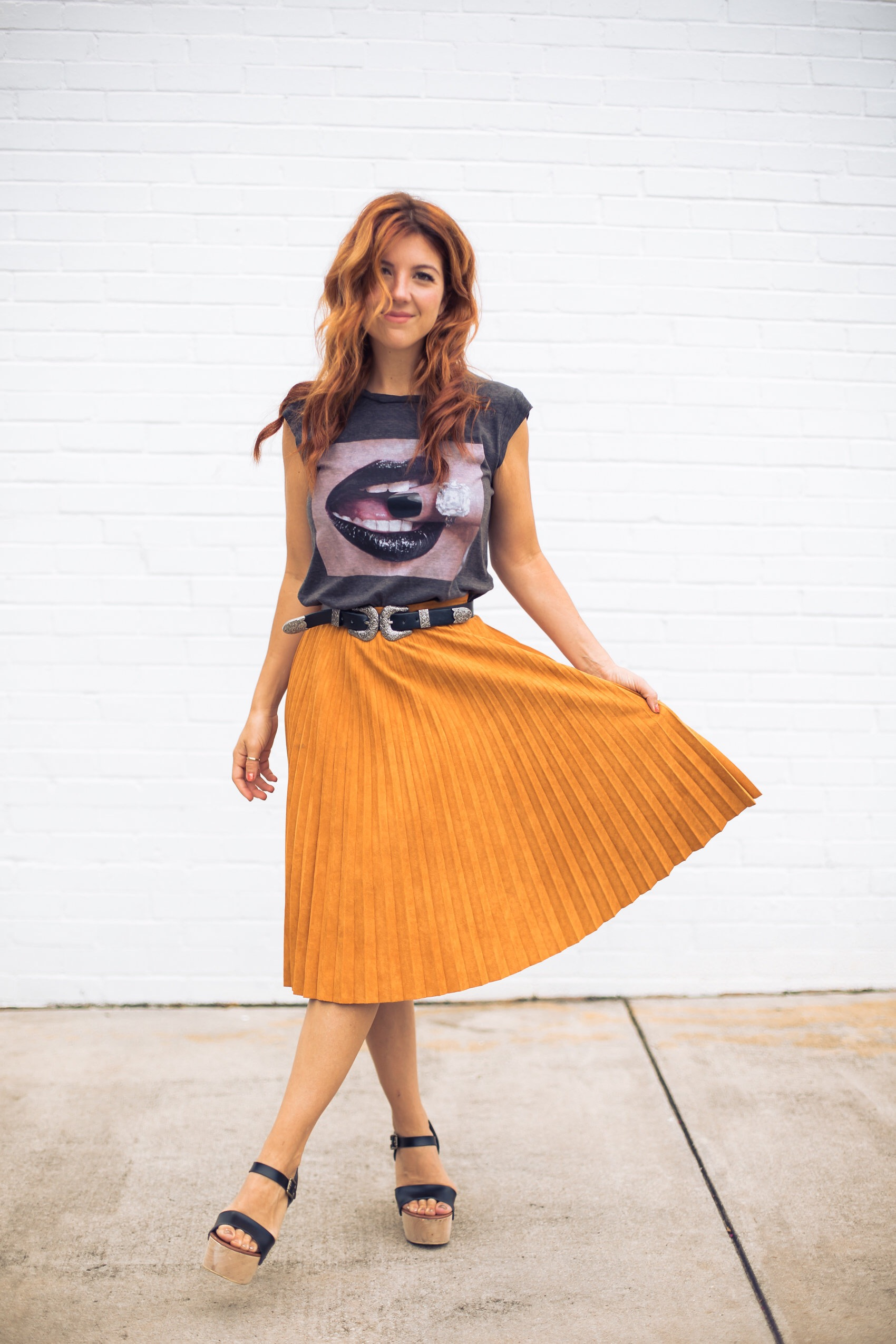 fashionveggie in faux suede vegan suede skirt and graphic tee, double buckle belt