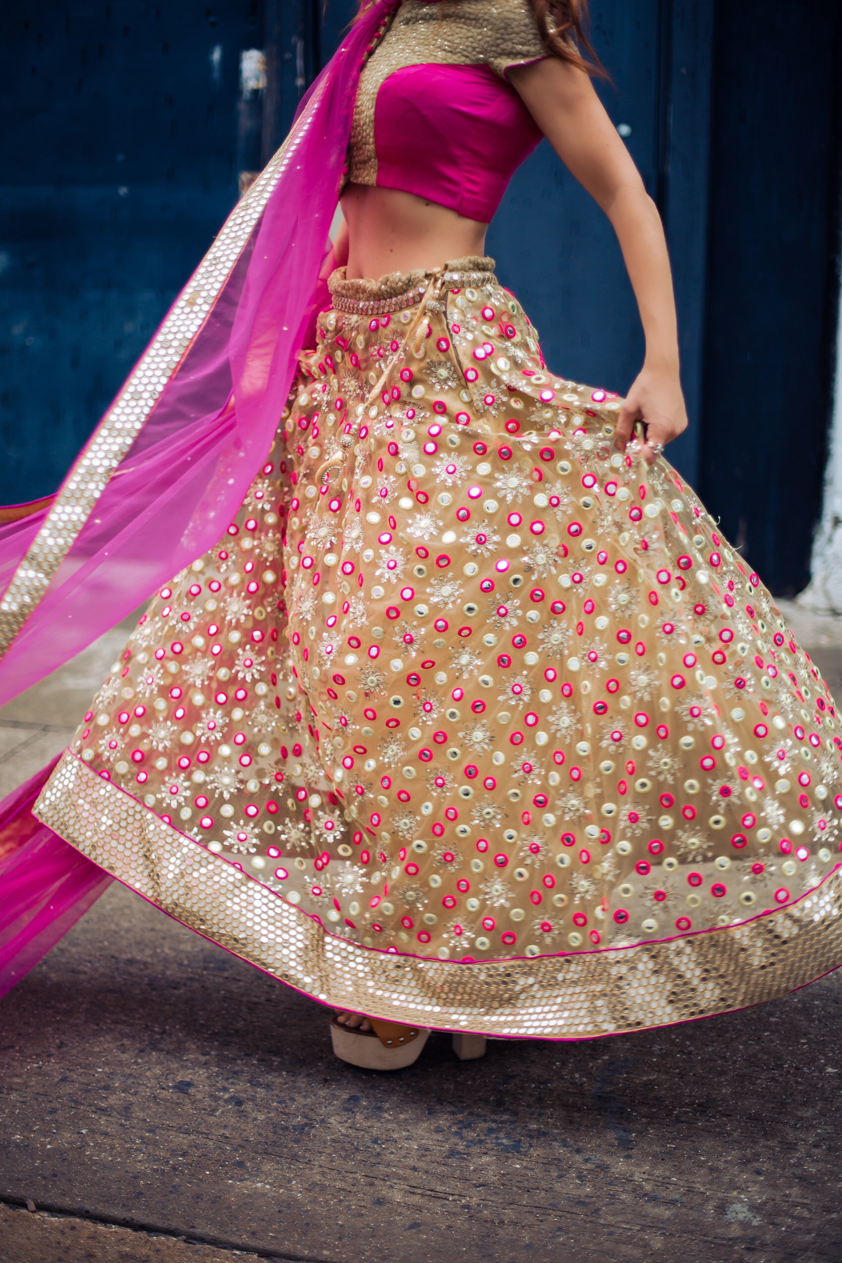 indian wedding outfit worn by blogger fashionveggie, pastels by AJ