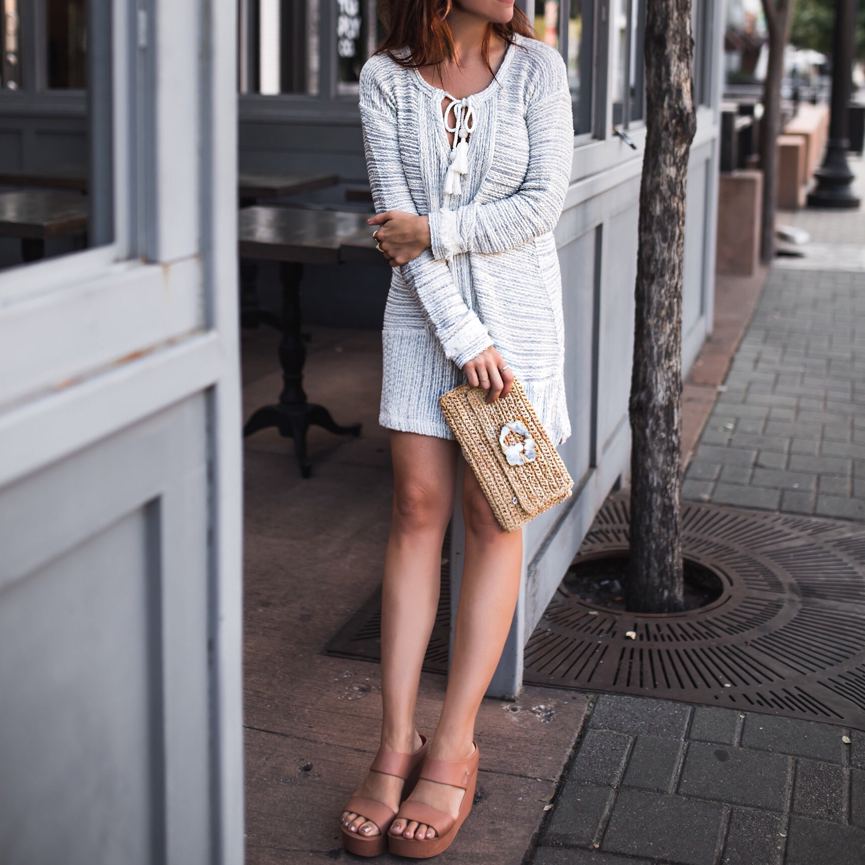 fashionveggie calypso tunic and clutch and melissa wedges