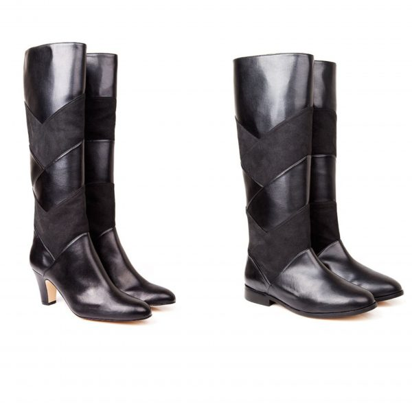 vegan leather knee high black boots by beyond skin