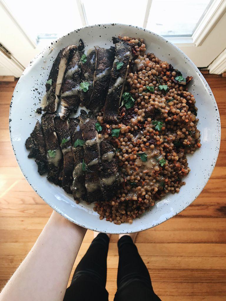 portabello mushroom steak green chef vegan